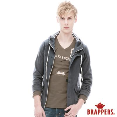 BRAPPERS 男款 男用連帽英倫風外套-麻灰