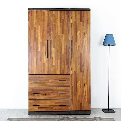 Homelike 艾斯4x7衣櫃(原木拼色)-115x54x198cm