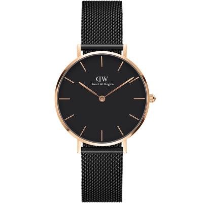 DW DanielWellington classic米蘭帶時尚手錶-黑X玫瑰金/32mm