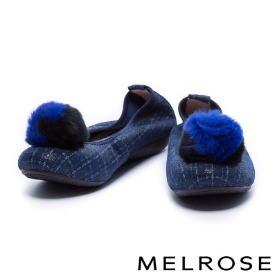 平底鞋 MELROSE 俏麗時尚兔毛球點綴超軟Q全真皮格紋娃娃鞋-藍