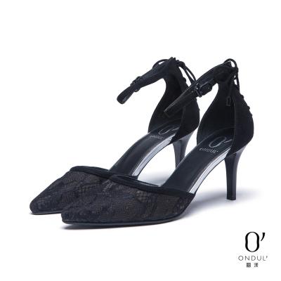 達芙妮x高圓圓-圓漾系列-高跟鞋-後綁帶蕾絲高跟尖頭鞋-黑8H