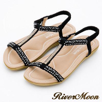 River&Moon大尺碼-簡約亮鑽編織工字Q軟涼鞋-名媛黑
