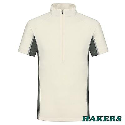 【HAKERS 哈克士】男-半開襟短袖排汗衣-米白