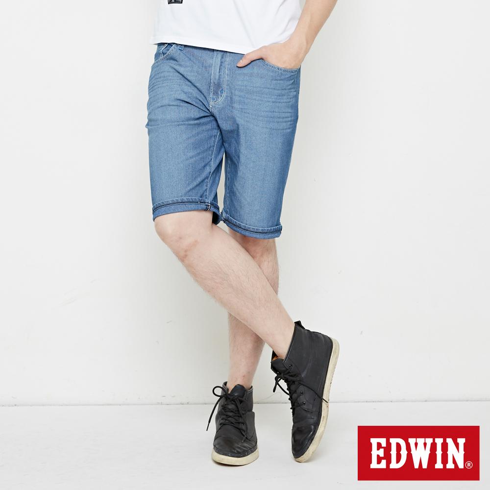 EDWIN 加大碼 迦績極涼寬短褲-男-石洗藍