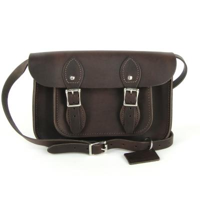 The Leather Satchel 英國手工牛皮劍橋包 肩背 側背包 原色深棕 11吋