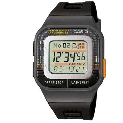 CASIO 10年電力慢跑數位運動風錶(SDB-100-1A)-黑/橘按鍵/33mm