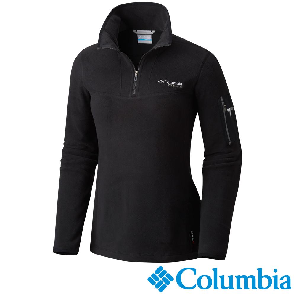 Columbia哥倫比亞 女款-鈦PL100立領上衣-黑色 UAR03310BK