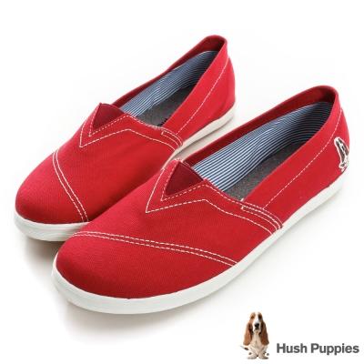 Hush Puppies 基本款咖啡紗懶人鞋-紅色
