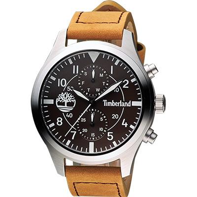 Timberland 叢林野戰系列日曆腕錶-咖啡x卡其/48mm