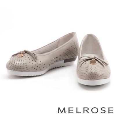 娃娃鞋 MELROSE 蝴蝶結金屬圓飾全真皮娃娃鞋-灰