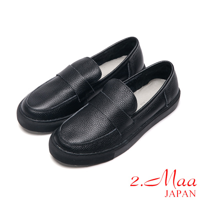 2.Maa全真皮系列-質感饗宴牛皮樂福鞋-黑
