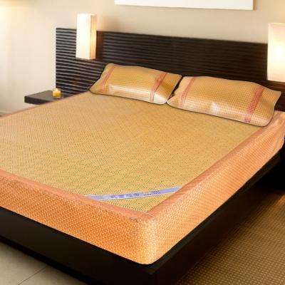 凱蕾絲帝 台灣製造~厚床專用柔藤紙纖床包涼蓆三件組(雙人加大6尺-床蓆*1+枕蓆*2)