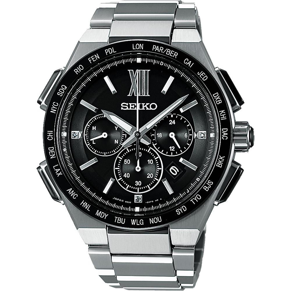 SEIKO Brightz 商務鈦金屬計時太陽能電波腕錶(SAGA209J)-43mm
