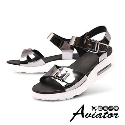 Aviator*韓國空運-Paperplane-正韓製質感皮革氣墊寬帶涼鞋-灰