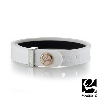 MASSA-G X ONLY U唯你健康鍺鈦手環-品牌革紋(白)