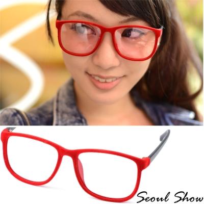 Seoul-Show-時尚亮眼毛絨-方圓框平光眼鏡-301紅色