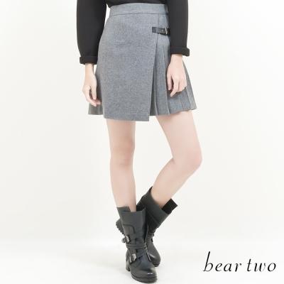 beartwo-軍裝風皮釦百摺造型短裙-共二色