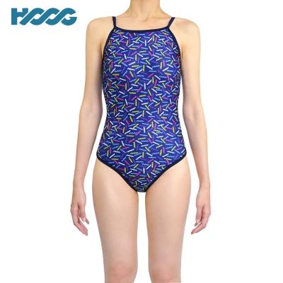 【韓國HOOG】連身挖背泳裝WSA672-繽紛藍