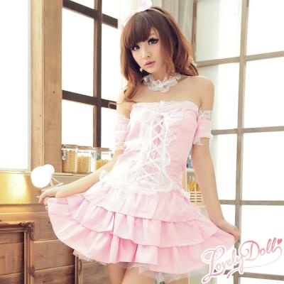 蘿莉朵-華麗晚宴-蝴蝶結綁帶蓬裙女僕裝-粉