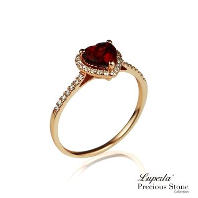 大東山珠寶 星座愛情紅石榴寶石璀璨玫瑰金戒指 摯愛