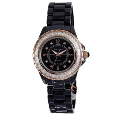 Royal Crown 奢華氛圍黑陶瓷晶鑽錶-黑/玫瑰金框/33mm