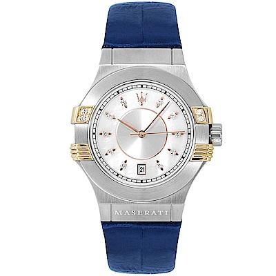 MASERATI 瑪莎拉蒂POTENZA璀璨晶鑽手錶女錶-白X藍/34mm