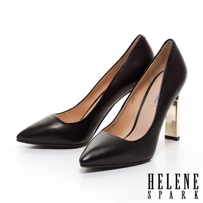 HELEN-SPARK-金屬造型鞋跟羊皮尖頭高跟鞋