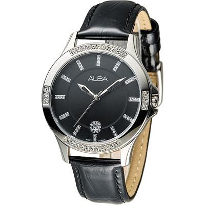 ALBA 浪漫天際晶鑽女錶-黑(AG8409X1)/35mm 保固二年