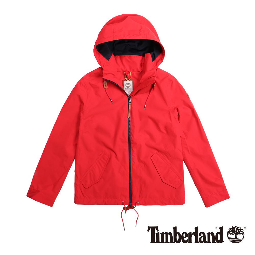 Timberland 女款紅色連帽抽繩防水休閒外套