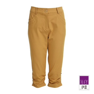 ILEY伊蕾-單色抓皺窄管七分褲-黃