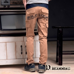 Dreamming 街頭個性拼接單寧伸縮休閒長褲-共二色