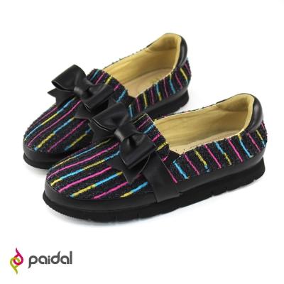 Paidal俏麗蝴蝶結輕運動休閒鞋樂福鞋懶人鞋-時尚黑