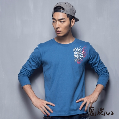鬼洗 BLUE WAY 鬼頭植絨印龍紋T恤-淺藍