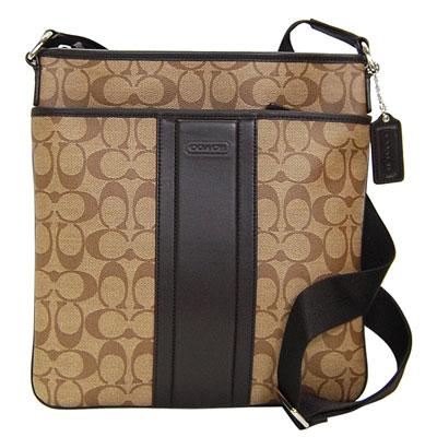 COACH 卡其C Logo深咖啡真皮飾邊方型斜背包