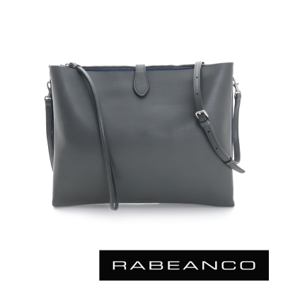 RABEANCO-迷時尚牛皮系列多夾層鏈帶手拿包-大-暗灰