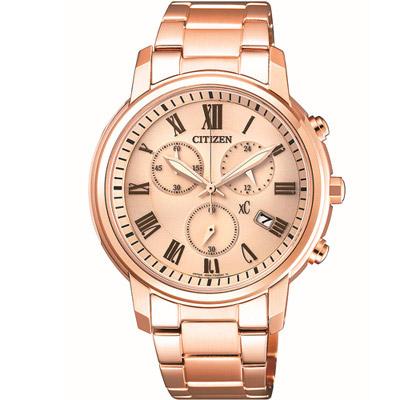 CITIZEN 星辰 xC粉領儷人光動能計時錶(FB1432-55X)-粉紅金色/37mm