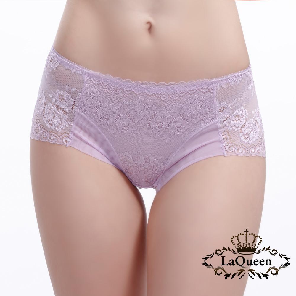 內褲  蕾絲緹花蠶絲內褲-紫 La Queen