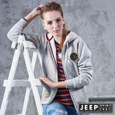 JEEP 女裝 簡約北極熊圖騰刷毛造型外套-灰