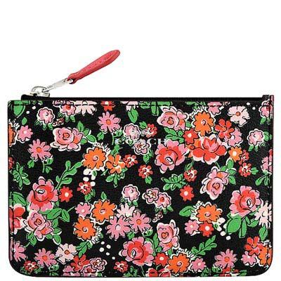 COACH 粉紅色花朵圖樣PVC鑰匙零錢包