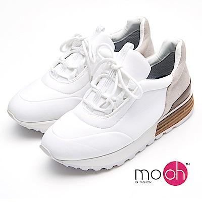 mo.oh -復古拚色仿木跟休閒球鞋-白色