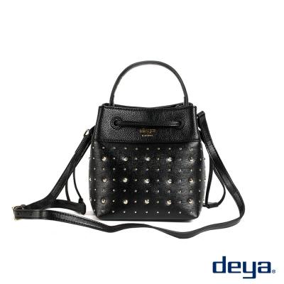水桶包 deya鉚釘個性搖滾甜心側背水桶包