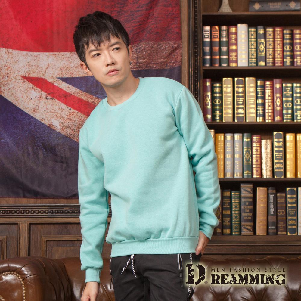 Dreamming 百搭素面親膚厚刷毛圓領棉長大學T-綠色/駝色