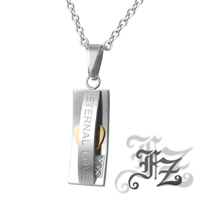 FZ  珍藏心動白鋼項鍊(玫瑰金)