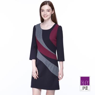 ILEY伊蕾-弧型不規則拼接撞色洋裝-紫