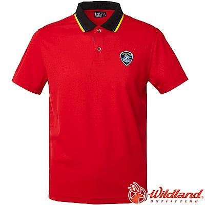 Wildland 荒野 0A61616-08紅色 男Coolmax排汗POLO衫