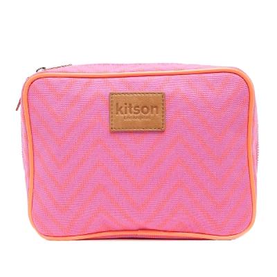 Kitson 螢光滾邊山形帆布化妝包(L-Pink)