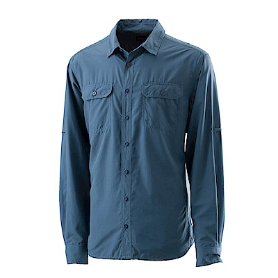【Wildland 荒野】男可調節抗UV排汗襯衫藍灰