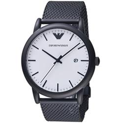 Emporio Armani Luigi系列米蘭錶帶腕錶-黑色/43mm