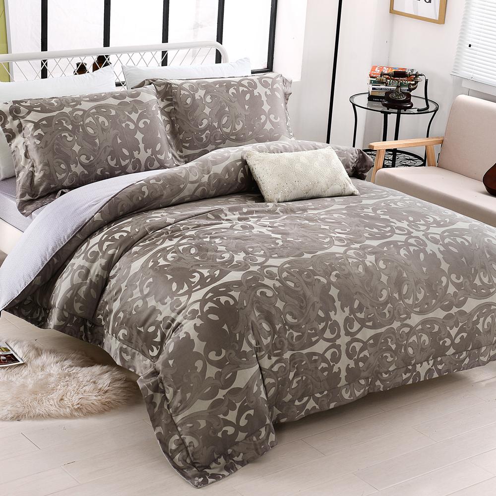 HOYACASA午夜夢迴 雙人四件式天絲緹花兩用被床包組