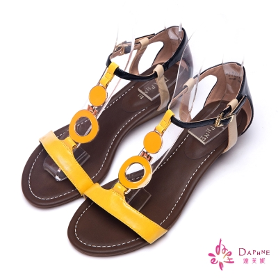 達芙妮DAPHNE-繽紛普普風繫踝楔型涼鞋-亮眼黃